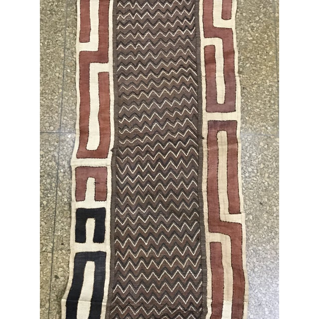 "African Tribal Art Handwoven Kuba Cloth Panel from DRC - 16.5"" x 40.5"" - Image 3 of 6"