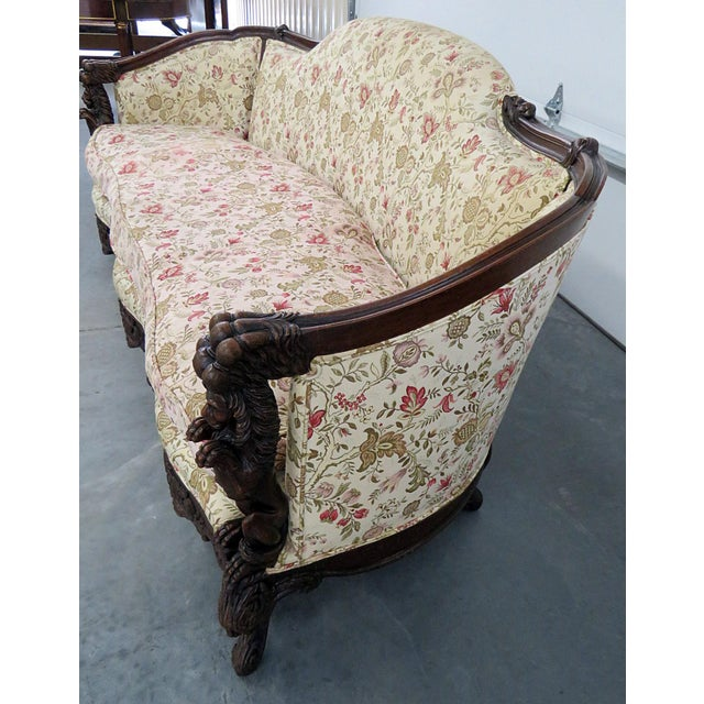 Carved Victorian Sofa For Sale - Image 4 of 9