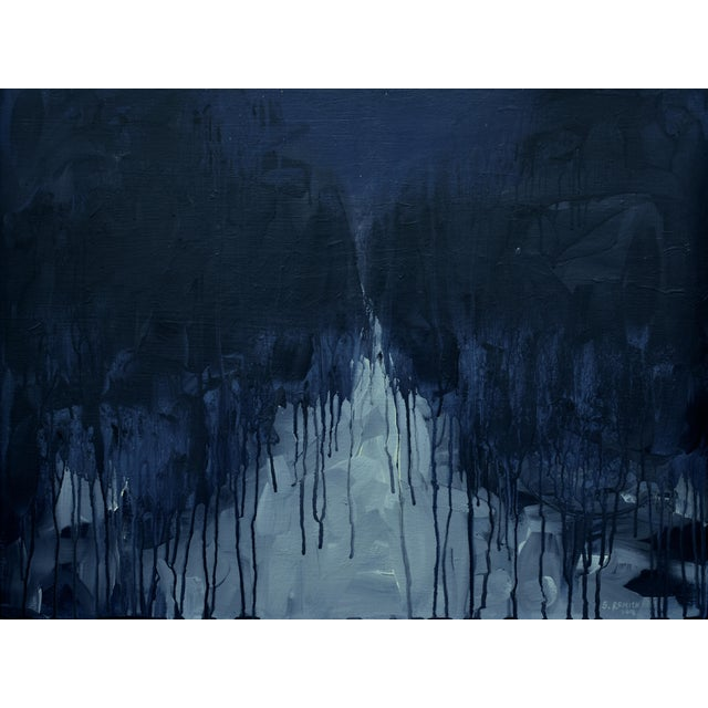 """Moonlit Snowy Path"", Contemporary Abstract Painting by Stephen Remick For Sale"