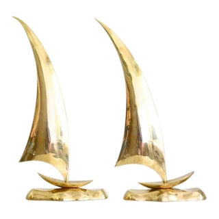Vintage Brass Sailboats - a Pair For Sale