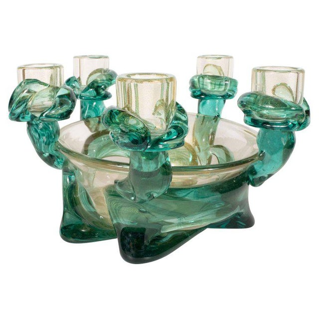 Mid-Century Modern Handblown Murano Glass Centerpiece Bowl With Gold Flecks For Sale - Image 10 of 10
