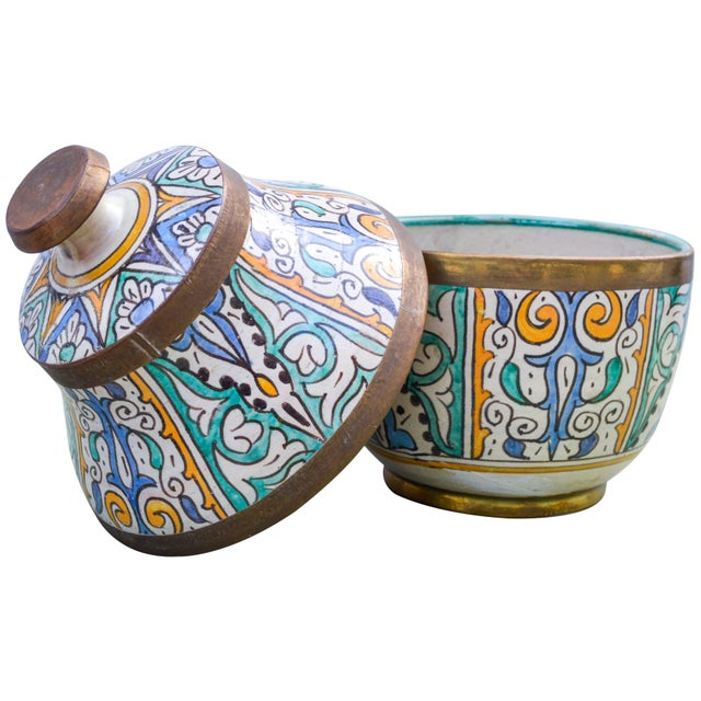 Moroccan Ceramic Lidded Bowl With Arabesque For Sale - Image 10 of 12
