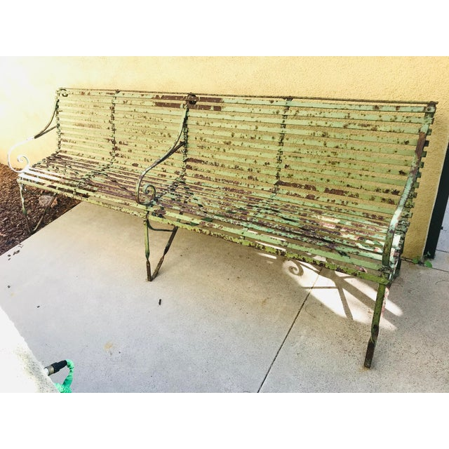 19th Century Antique French Wrought Iron Green Garden Park Restaurant Bench For Sale - Image 13 of 13