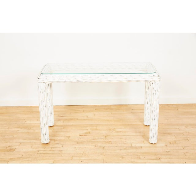 Vintage Thick White Wicker Console Table, 1980s For Sale - Image 4 of 13