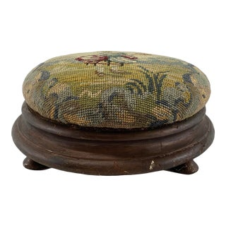 1800s Hooked Rug Upholstered Footstool For Sale