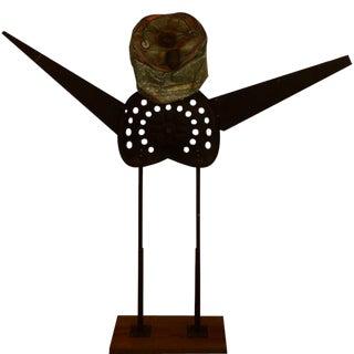 1989 Vintage Rustic Sculpture on Wooden Base For Sale