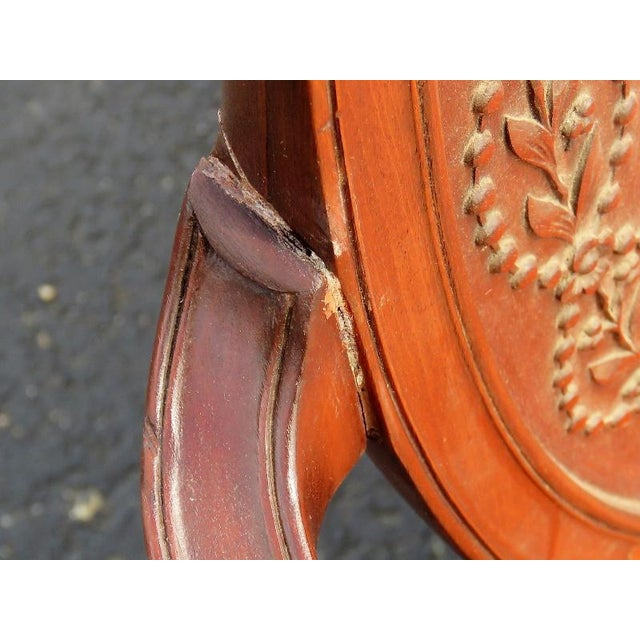 Carved Walnut Upholstered Armchairs - A Pair For Sale - Image 4 of 8