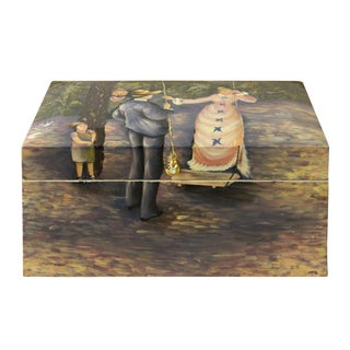 Lacquer Painting Old English Gentleman and Lady Forest Play Storage Box For Sale