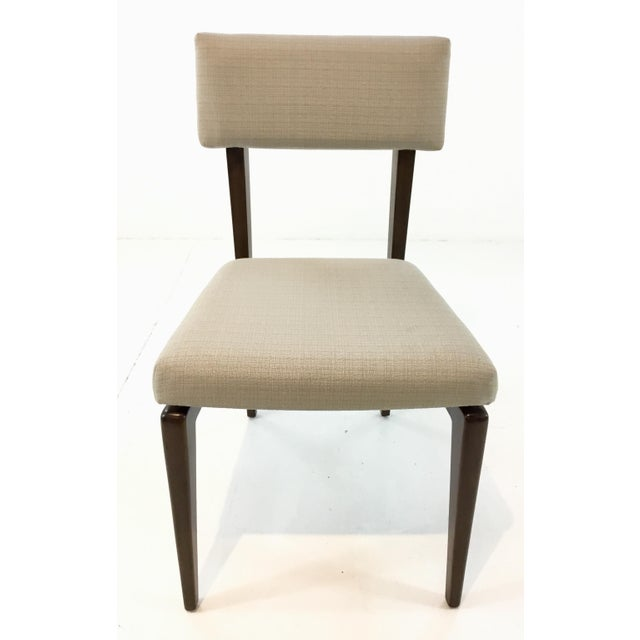 Danish Modern Style Ellen Degeneres Dining Chairs By: Thomasville, warm walnut finished wood frame upholstered in a...