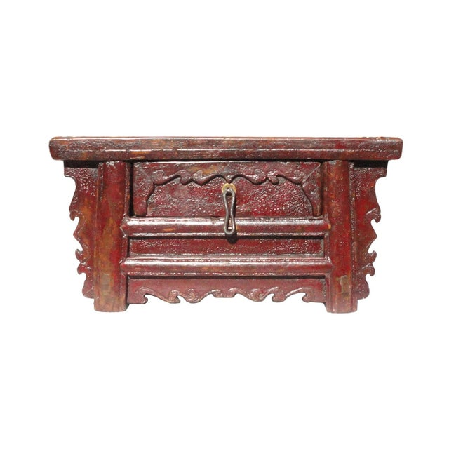 Chinese Old Rustic Small Low Chest Table - Image 1 of 6