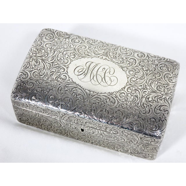 1900 - 1909 Antique 1900s Victorian Sterling Silver Jewelry Box For Sale - Image 5 of 13