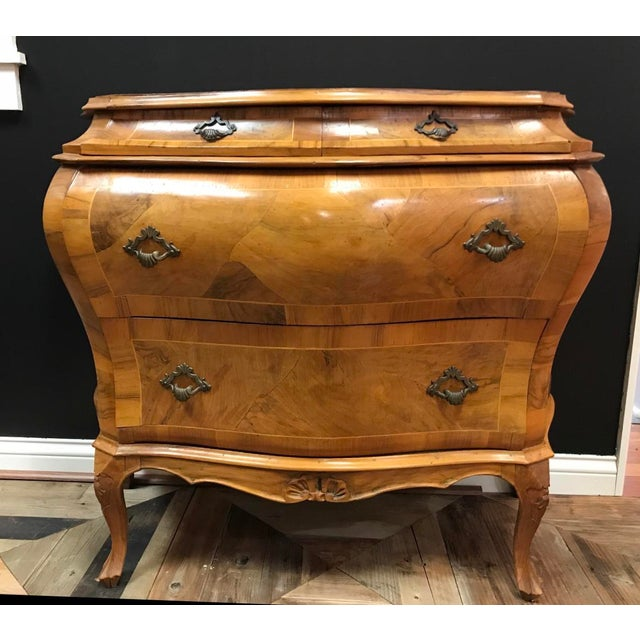 Olivewood Veneer Verona Italian Rococo Revival Bombe Commode 3 Drawer Chest For Sale - Image 13 of 13