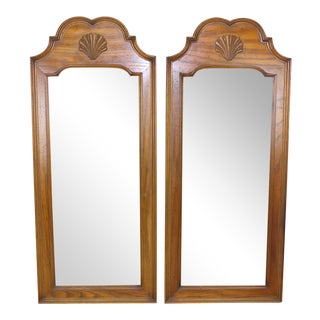 Mid Century Walnut Mirrors - A Pair For Sale