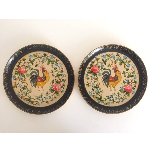 Vintage 1940's Japanese Hand Painted Rooster Decorative Plates - A Pair For Sale - Image 9 of 11