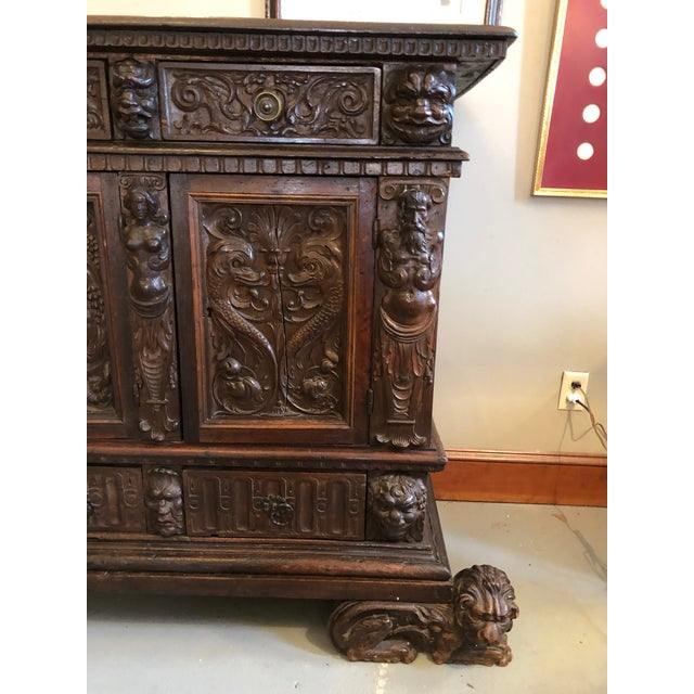 19th Century Renaissance Revival Hand Carved Cabinet For Sale In Minneapolis - Image 6 of 13