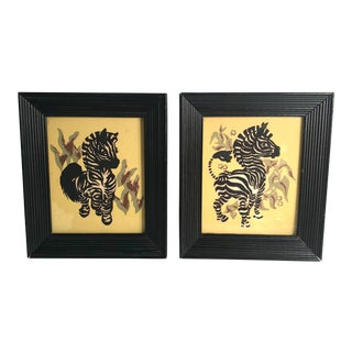 Vintage Petite Framed Zebra Prints - a Pair For Sale
