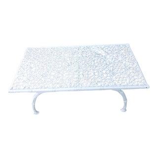 Italian Iron White Filigree Patio Outdoor Coffee Table
