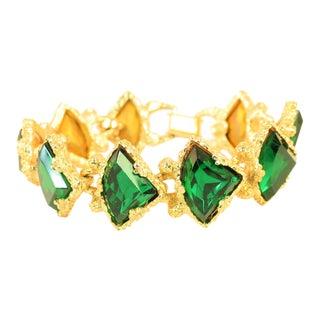 DeNicola Emerald Crystal Gold Nugget Link Bracelet 1960s For Sale