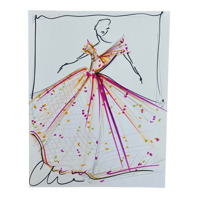 """Spring Floral Ball Gown"" Original Christian Siriano Sketch For Sale"