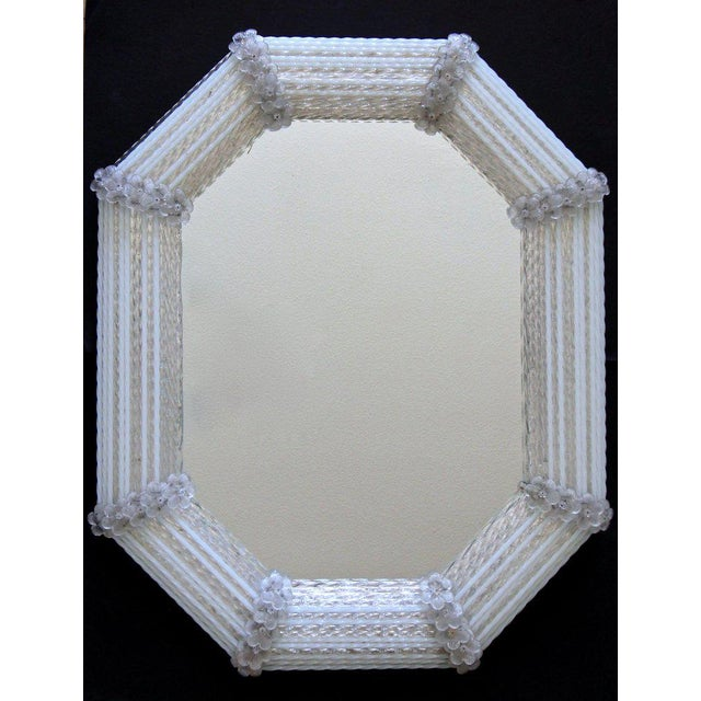 Murano Venetian White Clear Twisted Rod Floral Wall Mirror For Sale - Image 12 of 13