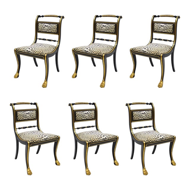 Black and Gold Regency Style Paw Feet Dining Chairs - Set of 6 For Sale