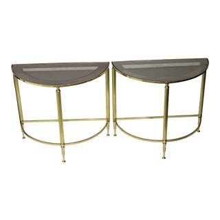 Mid-Century Modern Demi-Lune Drinks or Side Tables Brass and Smoked Glass - a Pair For Sale