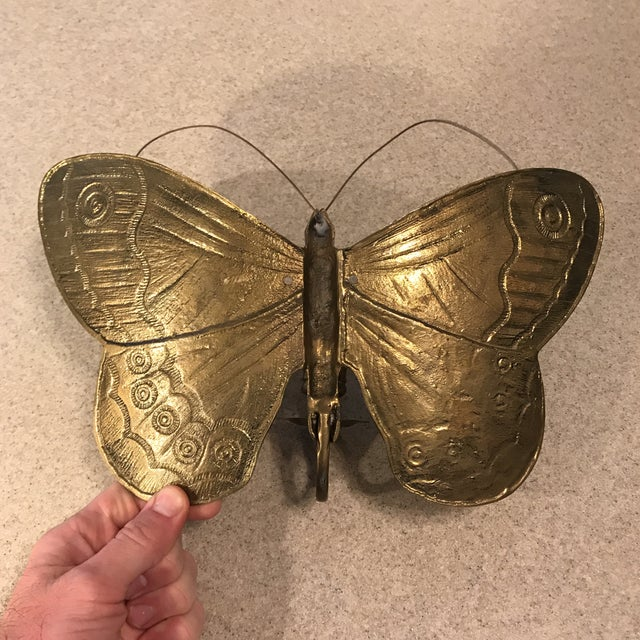 1970s Boho Chic Brass Butterfly Wall Candle Holder For Sale - Image 10 of 13