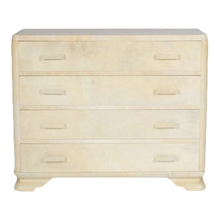 Mid-Century Modern Four Drawer Parchment Covered Dresser For Sale