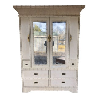 1970s Hollywood Regency Ficks Reed Faux Bamboo Armoire For Sale