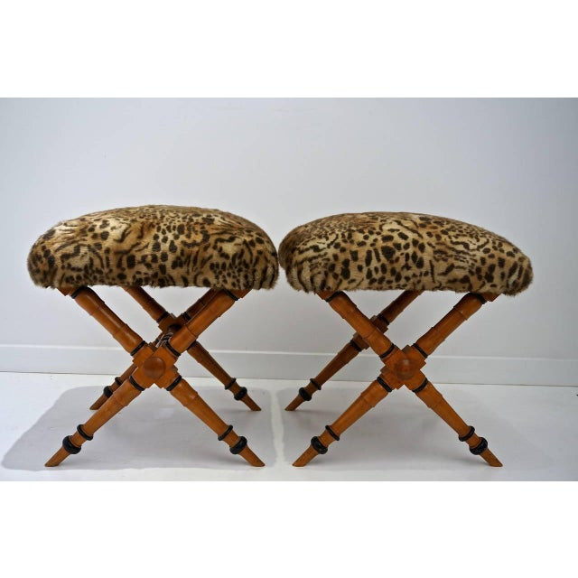 Pair of Vintage Biedermeier Style X-Stools With Faux Fur Upholstery For Sale - Image 4 of 11