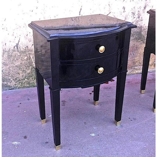 Maison Jansen Refined Pair of Black Lacquered Bedsides or Side Tables.