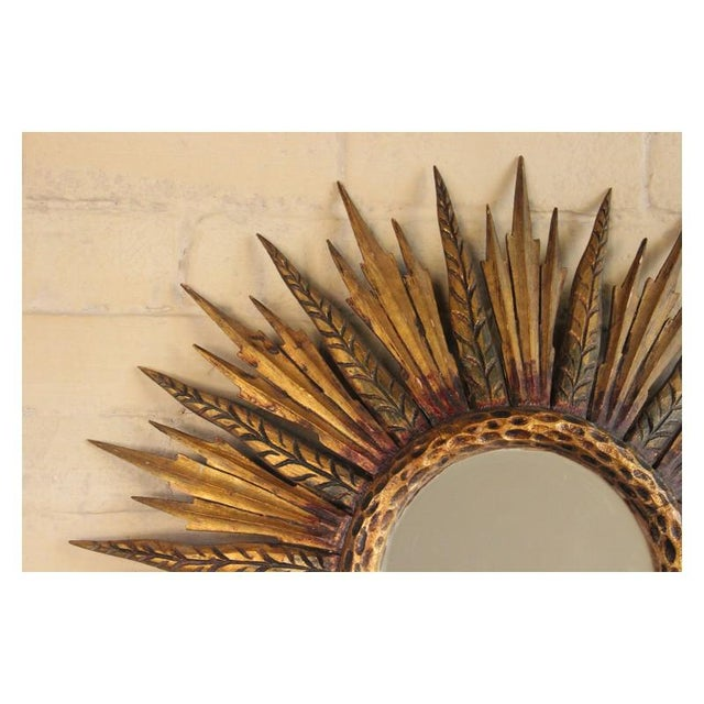 Midcentury French Sunburst Mirror With Feathered Rays and Original Mirror Glass For Sale - Image 4 of 8