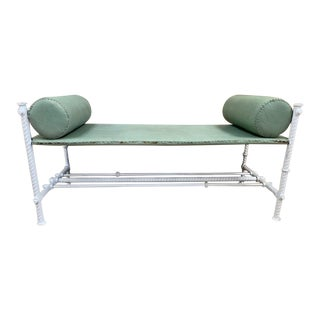 French Wrought Iron and Leather Bench For Sale