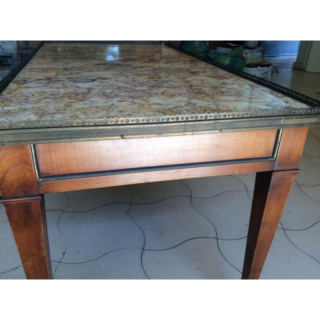 Metal French Walnut Coffee Table With Marble Top For Sale - Image 7 of 11
