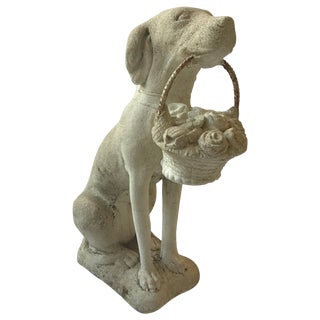 1960s Concrete Dog Holding Basket of Flowers For Sale