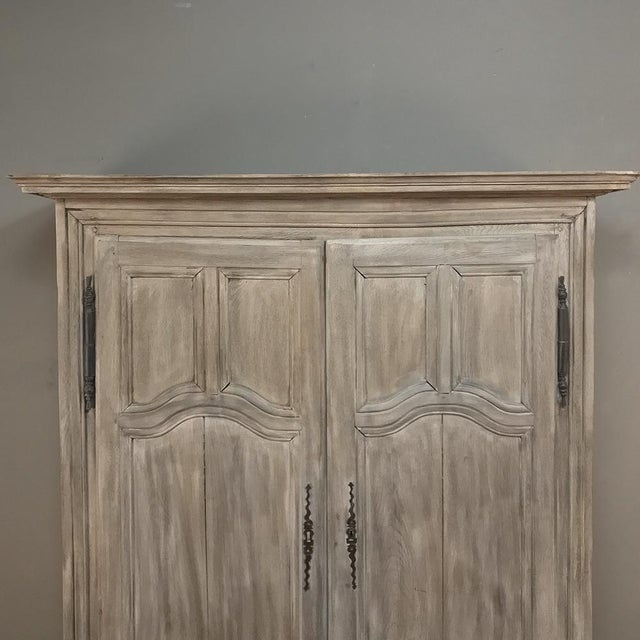 World Class 19th Century Country French Whitewashed Armoire From