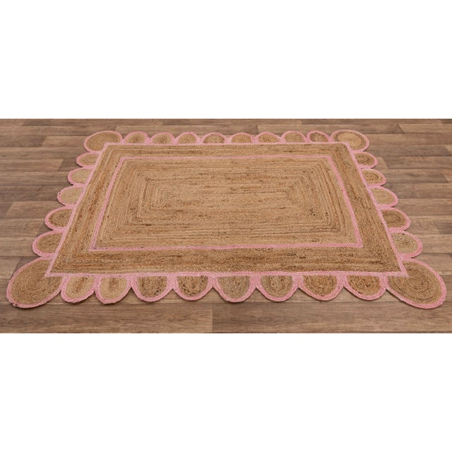Light Pink Scallop Jute Light PInk Hand Made Rug - 9'x12' For Sale - Image 8 of 11