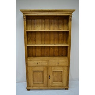 Antique Pine Bookcase With Two Doors and Two Drawers Preview