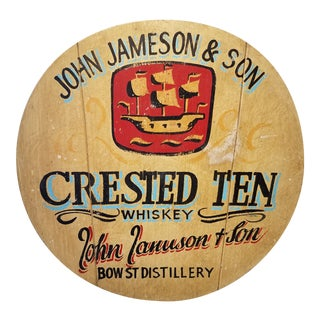 Antique John Jameson & Son Crested Ten Whiskey Wooden Round Barrel Lid Sign For Sale