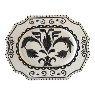 Black and White Hand Painted Platter From the Mane Lion Company
