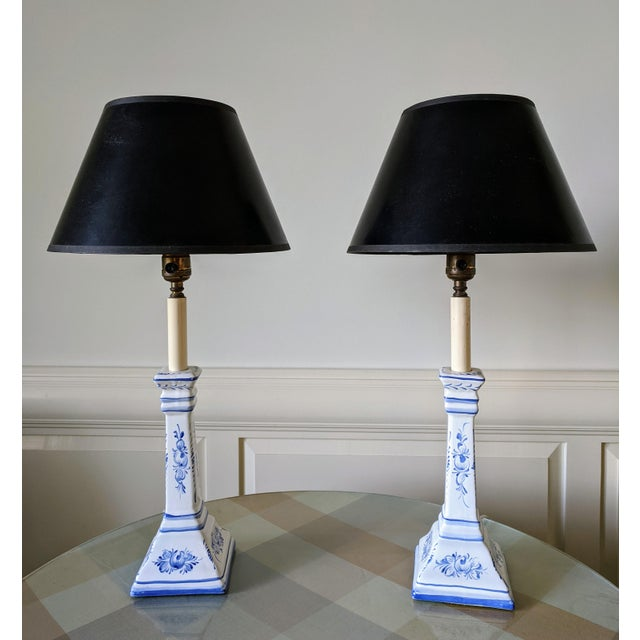 A Pair- Portugal Ceramic Blue and White Buffet Table Lamps For Sale - Image 13 of 13