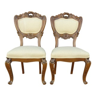 Vintage Victorian Ornately Carved Ivory Accent Chairs - a Pair For Sale