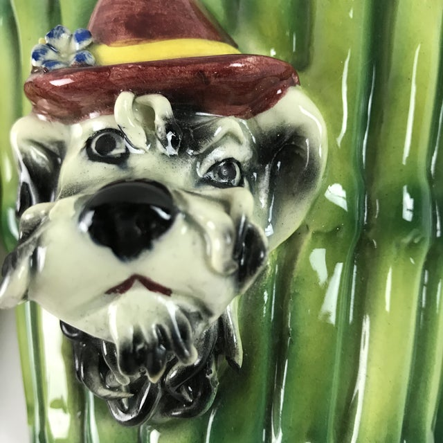 Italian 1950s Italian Majolica Poodle Dog Wall Pockets - a Pair For Sale - Image 3 of 13