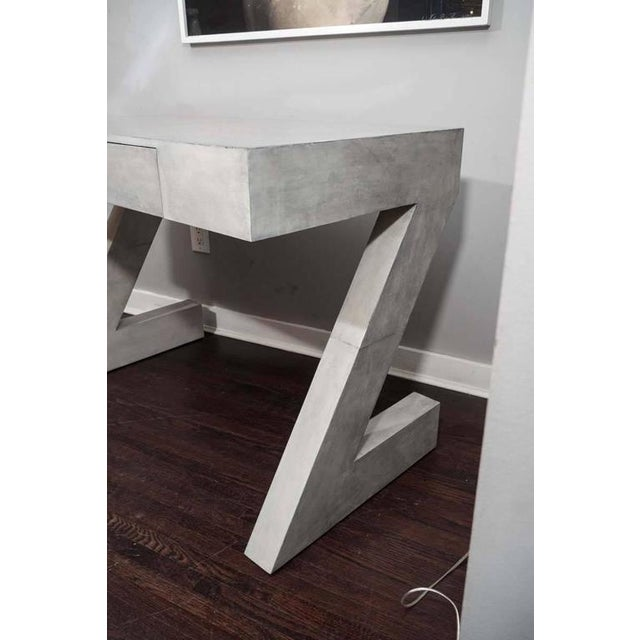 Custom single draw storm gray parchment Z desk.