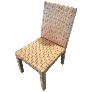 Ralph Lauren Woven Leather Accent Chair For Sale