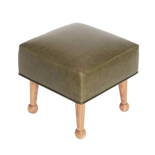 Sabin Mulholland Olive Green Leather Ottoman