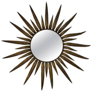Italian Midcentury Gilt Metal Sunburst Mirror For Sale