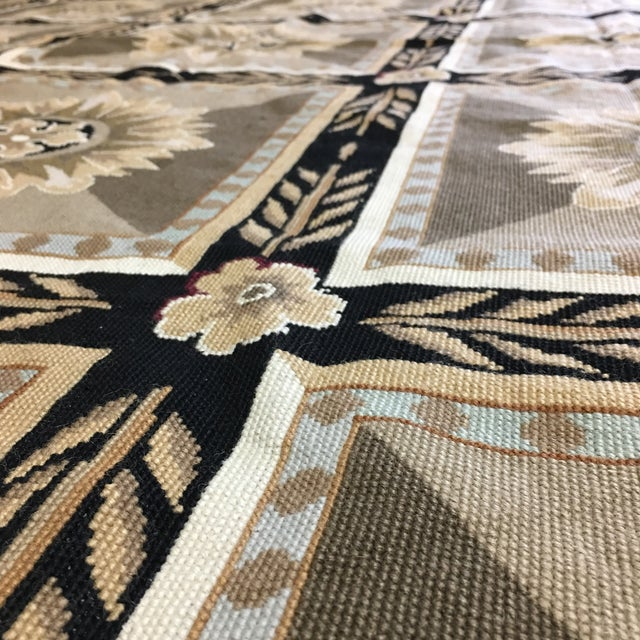 French Hand Woven Aubusson Needlepoint Area Rug - 5′5″ × 9′8″ - Image 11 of 11