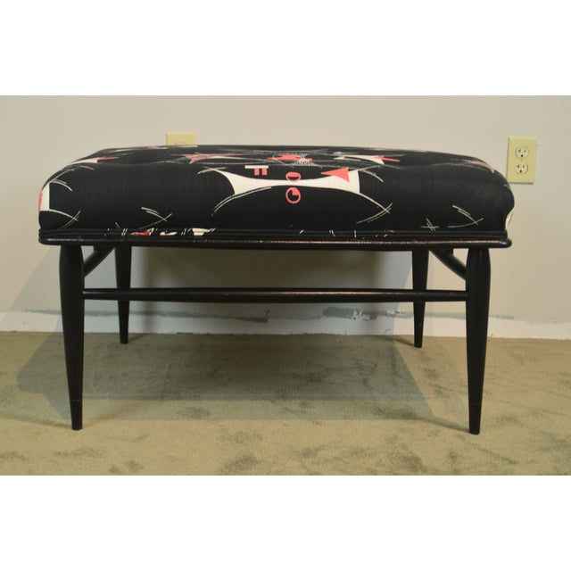 """1950s Mid Century Modern 32"""" Square Black Ottoman For Sale - Image 5 of 13"""