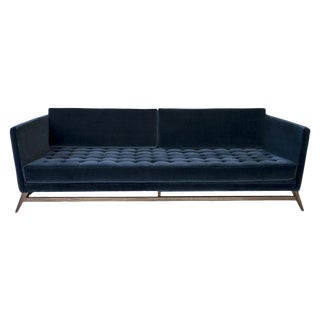 Eclipse Tufted Velvet and Walnut Sofa by Atra For Sale